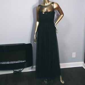 Bill Levkoff black tulle and lace maxi dress